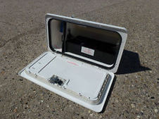 CARAVAN BATTERY BOX LOCKER INCLUDES 24OV INLET, AERIAL AND SATALITE SOCKET